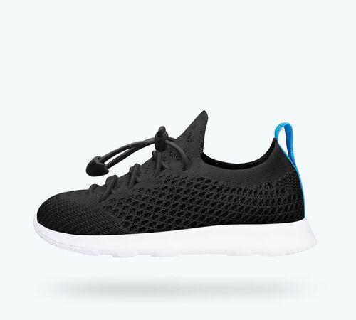 Side view of AP Mercury Liteknit Child Shoes in Jiffy Black / Shell White