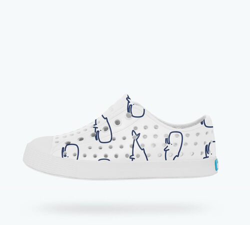Side view of Jefferson Print Child Shoes in Shell White / Shell White / Nantucket