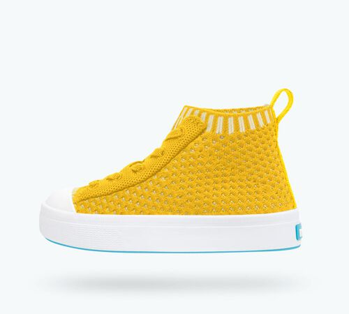 Side view of Jefferson 2.0 High Lite Child Shoes in Alpine Yellow / Shell White