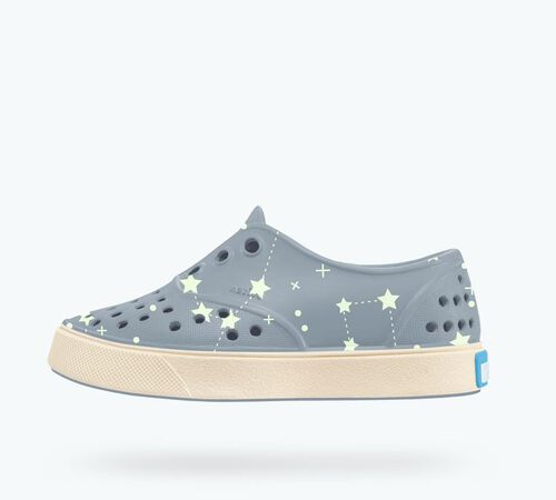 Side view of Miller Print Child in Wolf Blue / Bone White / Star Glow