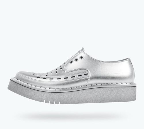 Side view of Diano Metallic Shoes in Silver Metallic / Silver Metallic