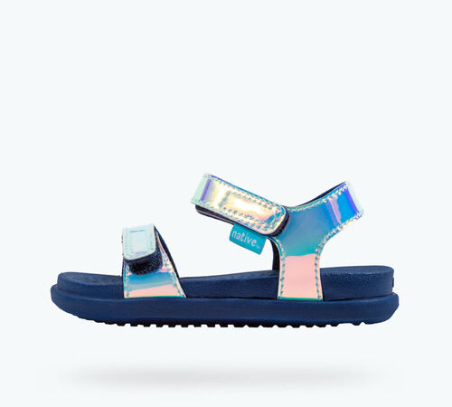 Side view of Charley Hologram Child Sandals in Blue Hologram / Regatta Blue