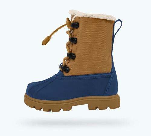 Side view of Jimmy 3.0 Treklite Child Boots in Regatta Blue / Quicksand Brown / Gum Brown