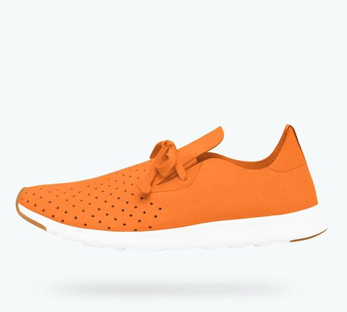 Side view of AP Moc in Sunset Orange / Shell White / Nat Rubber