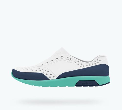Side view of Lennox Block Child in Mist Grey / Pool Blue / Regatta Blue / Regatta Block