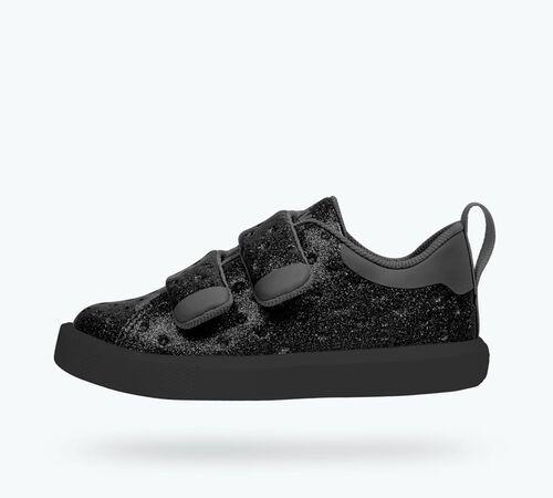 Side view of Monaco Velcro Glitter Child Shoes in Black Glitter / Jiffy Black