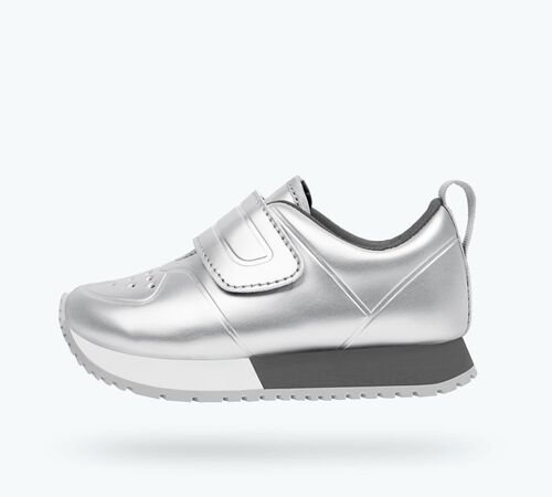 Side view of Cornell Metallic Child Shoes in Silver Metallic / Shell White / Dublin Grey / Mist Rubber