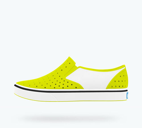 Side view of Miles Block Child Shoes in Sunny Green / Shell White / Shell Block