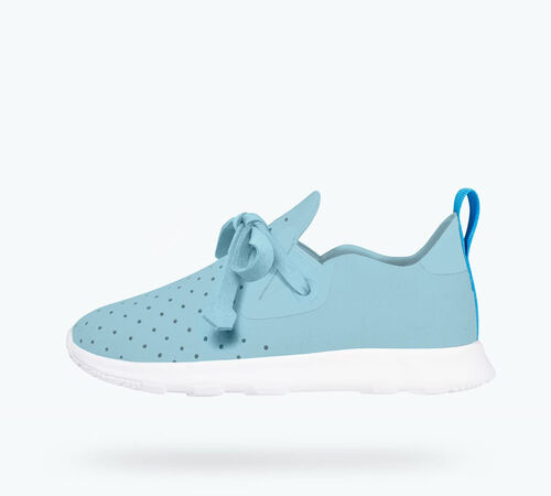 Side view of AP Moc Child in Sky Blue / Shell White