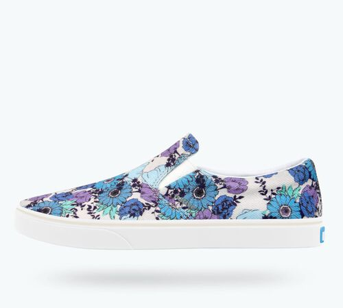 Side view of Miles Denim Print Shoes in Mist Canvas / Shell White / Jardin