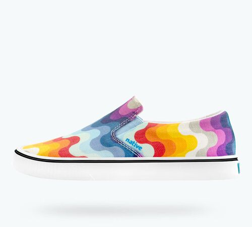 Side view of Miles Denim Print in White Canvas / Shell White / Rainbow Wave