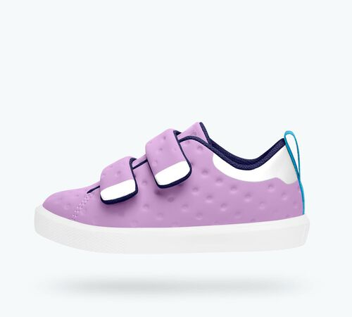 Side view of Monaco CT Child Shoes in Lavender Purple / Shell WHite
