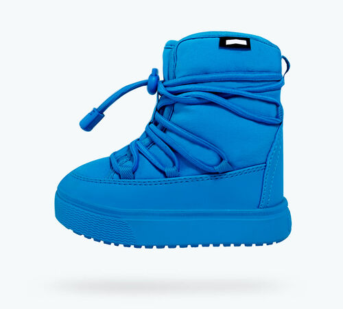 Side view of Chamonix Shearling Child Boots in Wave Blue
