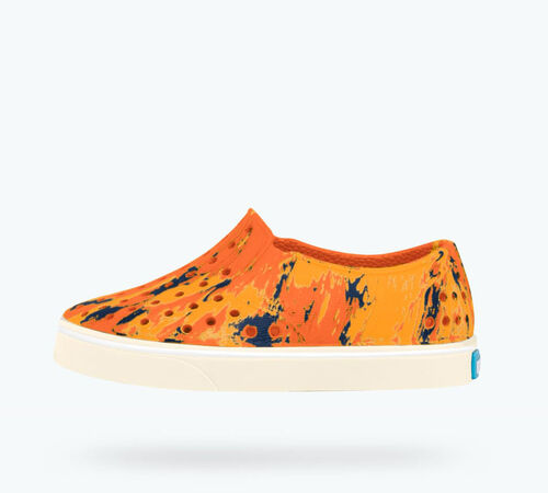 Side view of Miles Marbled Child in Marigold Orange / Bone White / Marbled