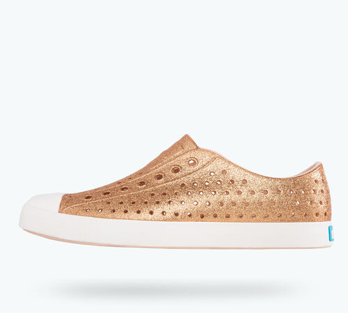 Side view of Jefferson Bling in Rose Gold Bling / Shell White