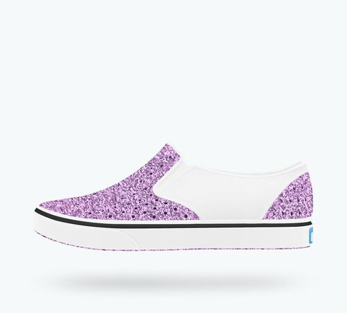 Side view of Miles Bling Child Shoes in Lavender Bling / Shell White
