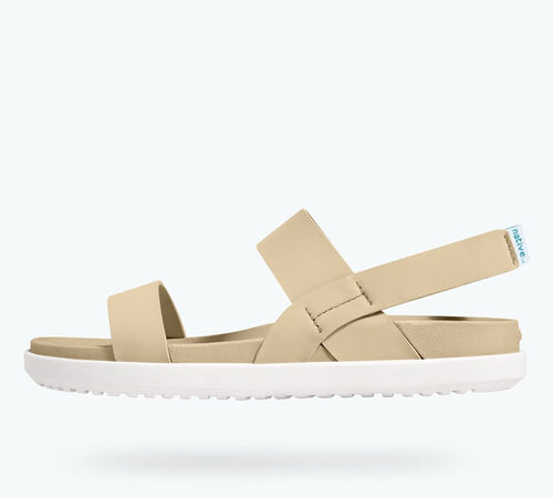 Side view of Ellis Sandals in Flax Tan /  Cloud Grey