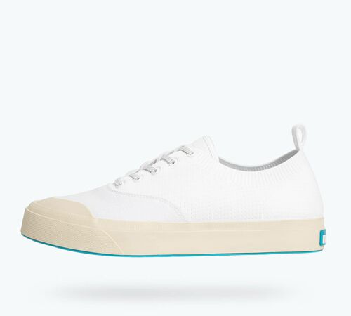 Side view of Jefferson Plimsoll in Shell White / Bone White