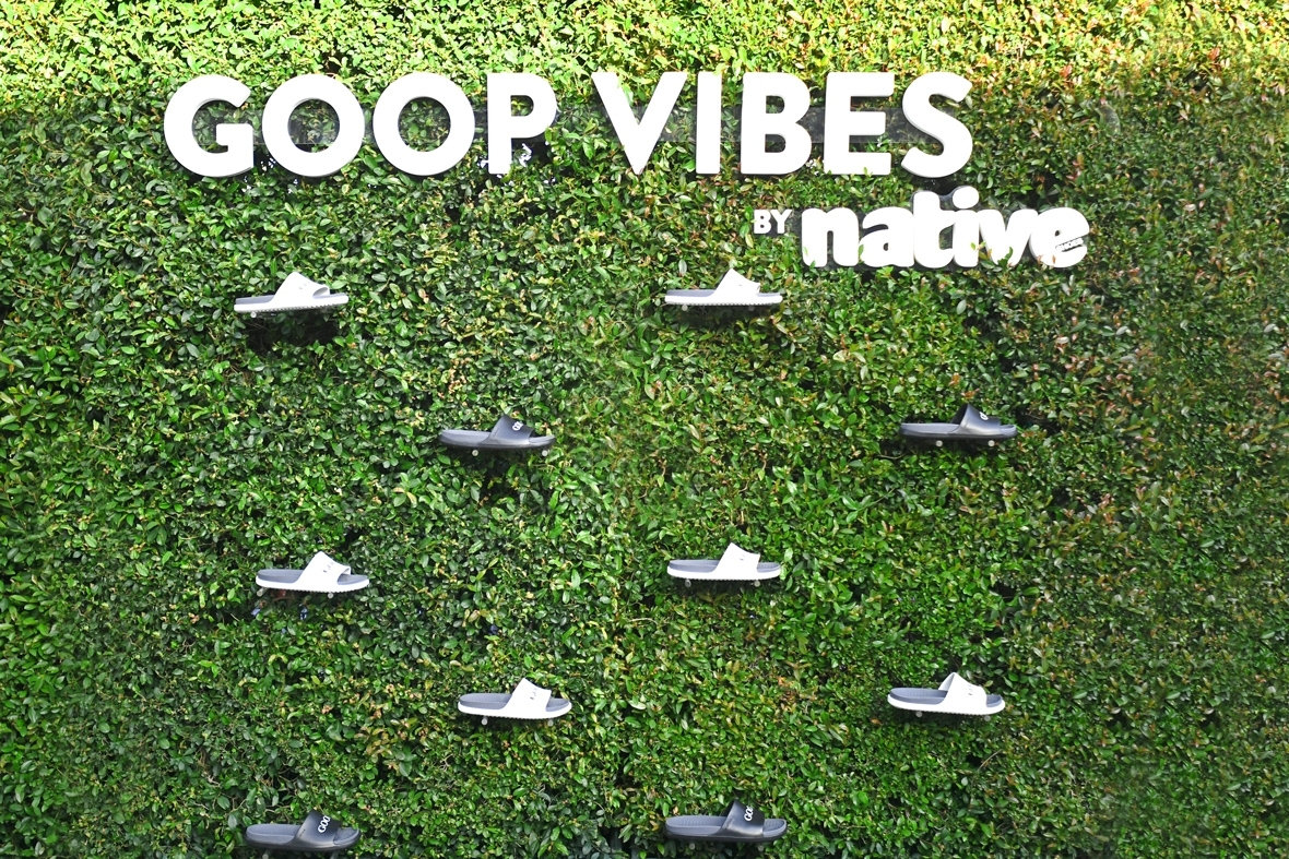 goop VIBES green wall by Native Shoes