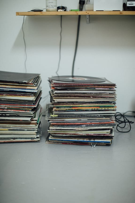 A stack of records