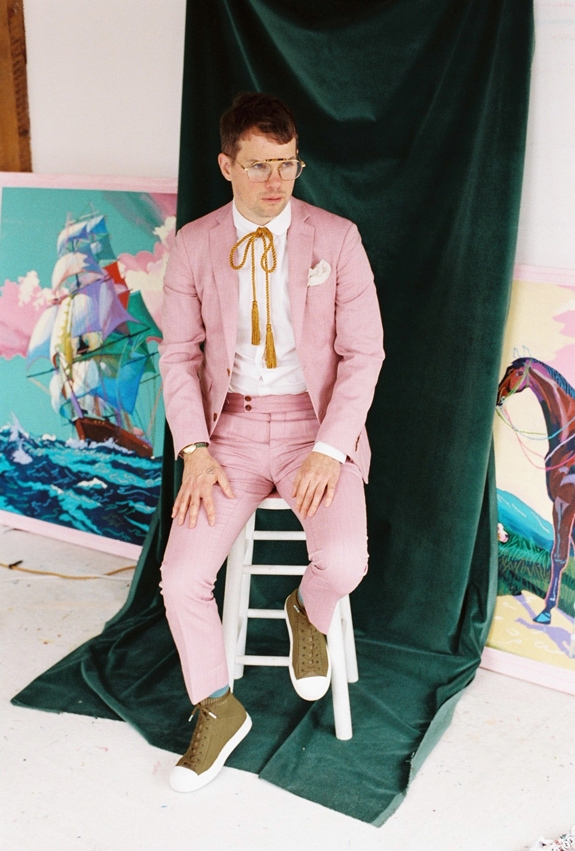 Andy Dixon wearing green Jefferson 2.0 high and pink suit on green backdrop