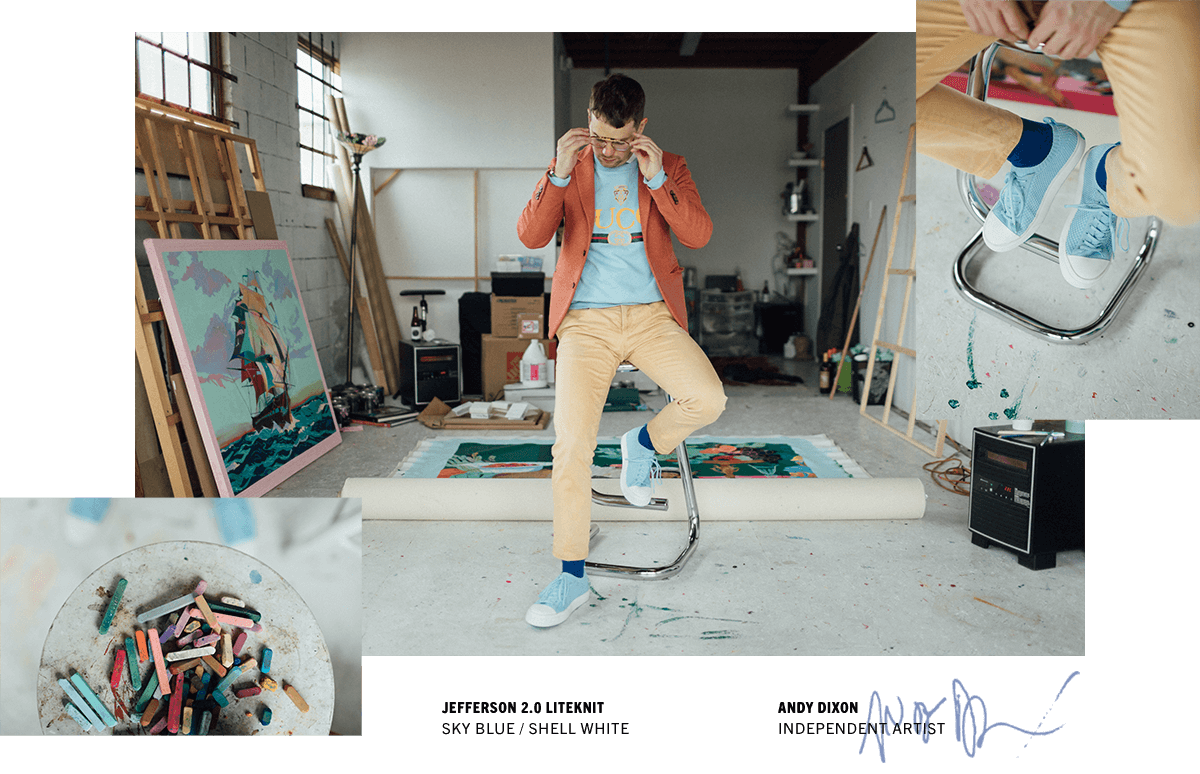 Artist Andy Dixon wearing his signature color palette wearing blue Jefferson shoes from Native Shoes.