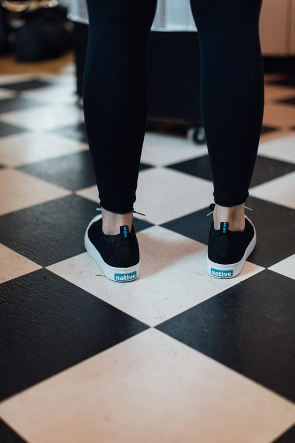 The Jefferson 2.0 Liteknit from behind on a checkered floor