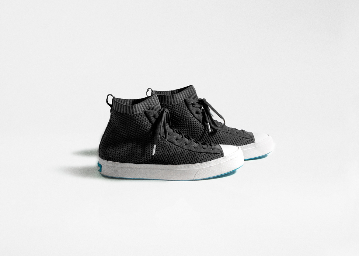 Classic black high top Native Shoes knit sneakers which are slip-on for men and women