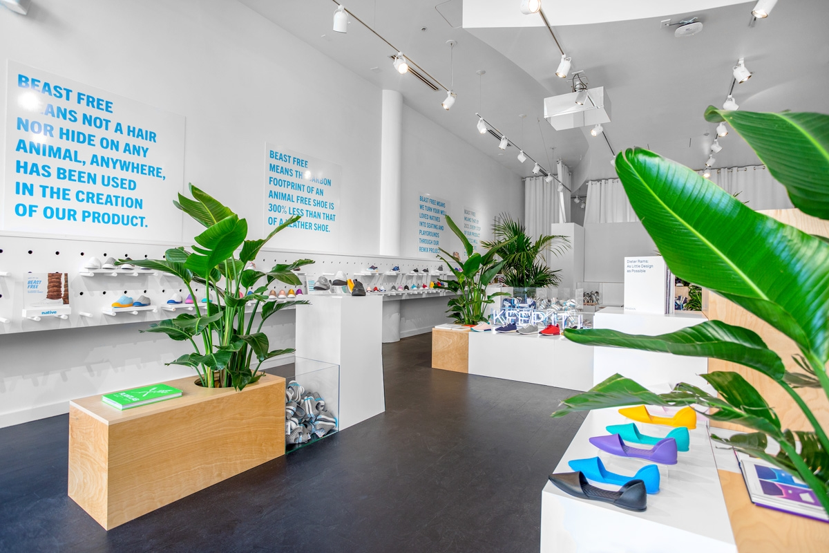 The Native Shoes Santana Row store interior showing the colorful Audrey shoe on display.