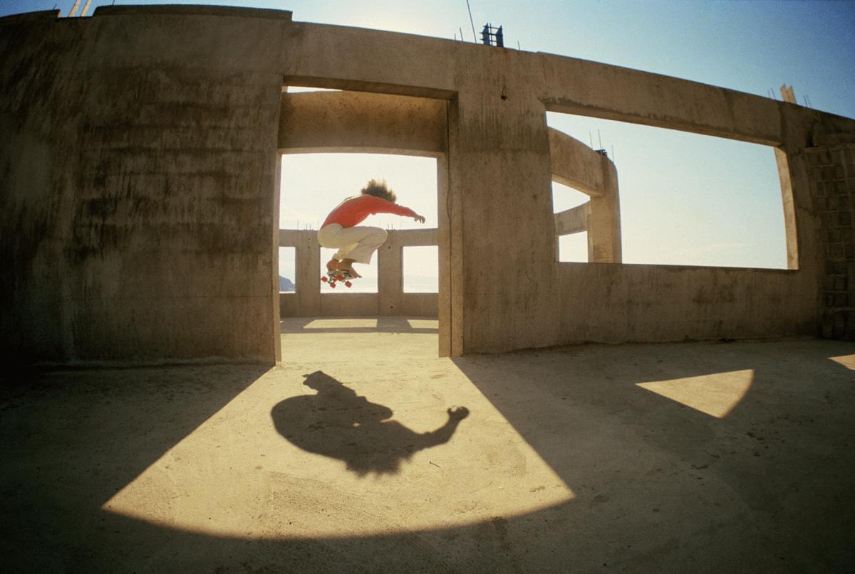 Hugh Holland photograph of skateboarding mid-air