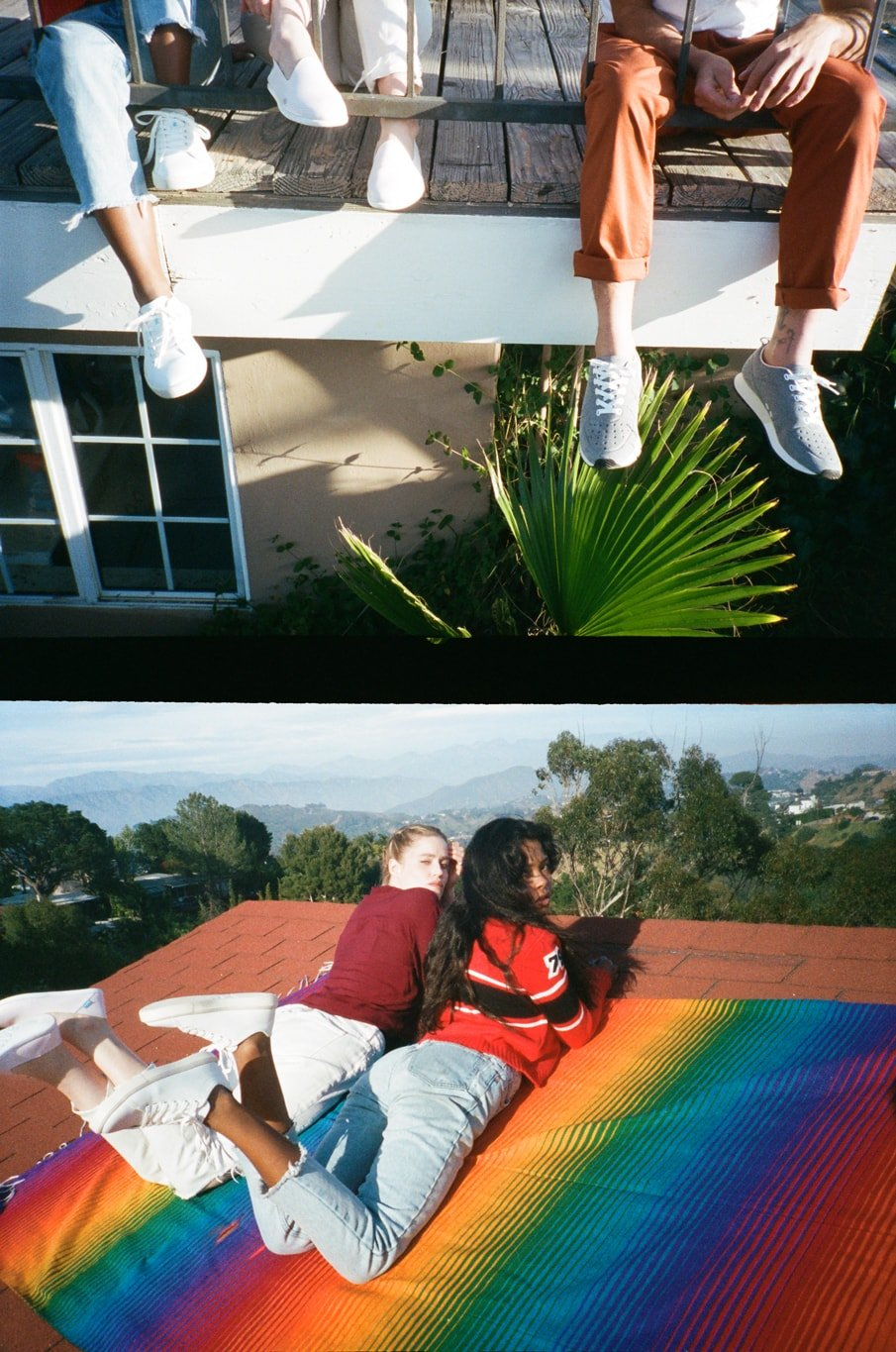 people wearing classic shoes sitting on a balcony in the sun. two girls lying in the sun on a roof in California wearing classic white sneakers